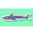 Shark smiling on green background vector image