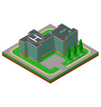 flat 3d isometric building with a helipad and a vector image