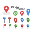 Navigation pins 3d isometric collection vector image