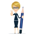 The writer with a pencil vector image