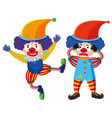 two circus clowns in colorful costume vector image