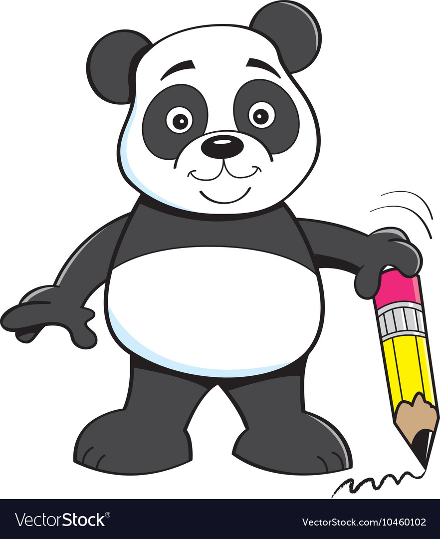 Cartoon panda bear holding a pencil vector