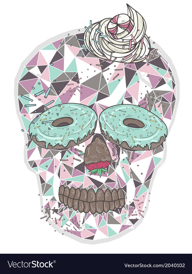 Cute skull with donut eyes and whipped cream hair vector