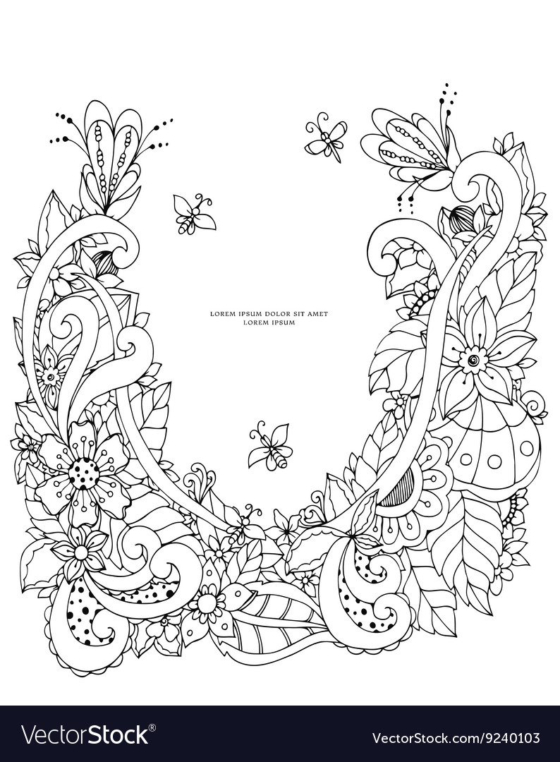 Floral frame zen tangle vector