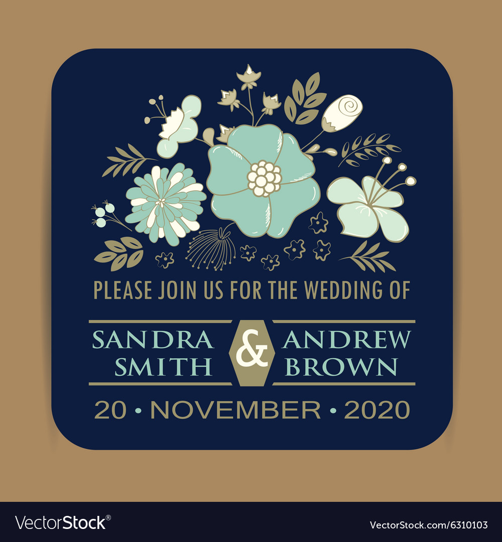 Navy wedding card with blue flowers vector