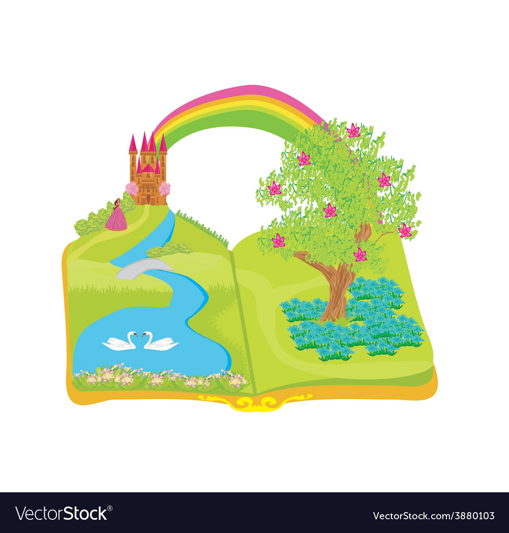 Open book  beautiful princess in the garden vector