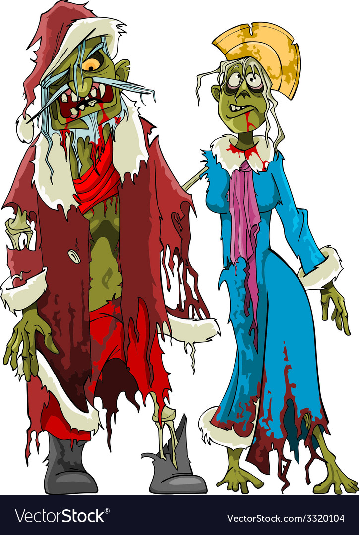Cartoon zombie santa claus and snow maiden zombies vector
