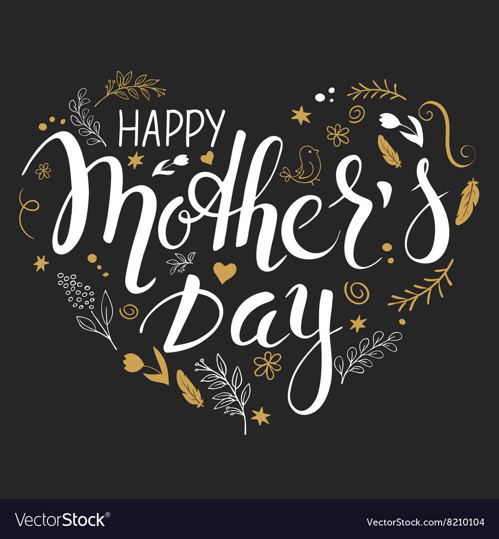 Hand drawn mothers day lettering heart vector