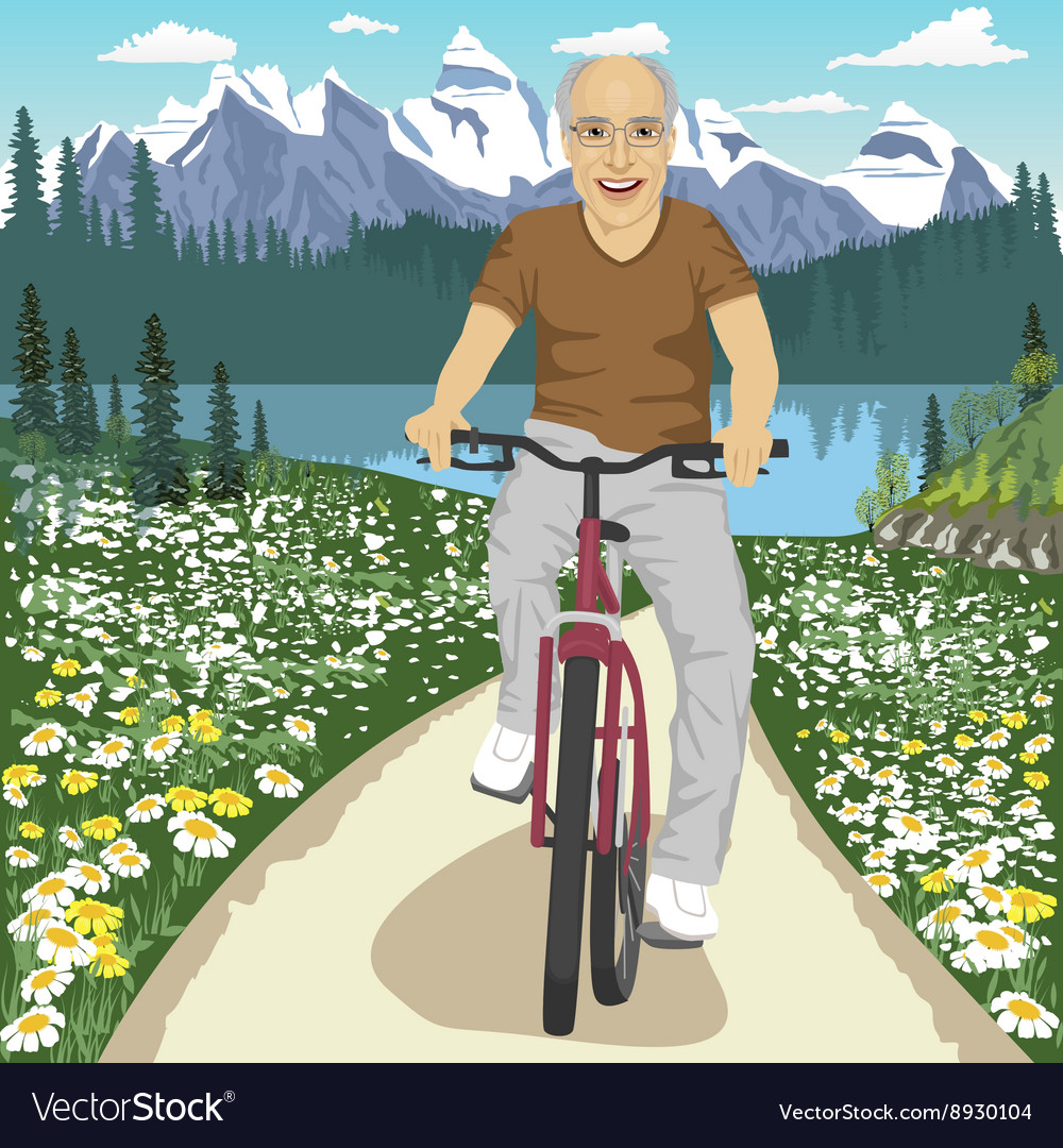 Senior man on his mountain bike outdoors vector
