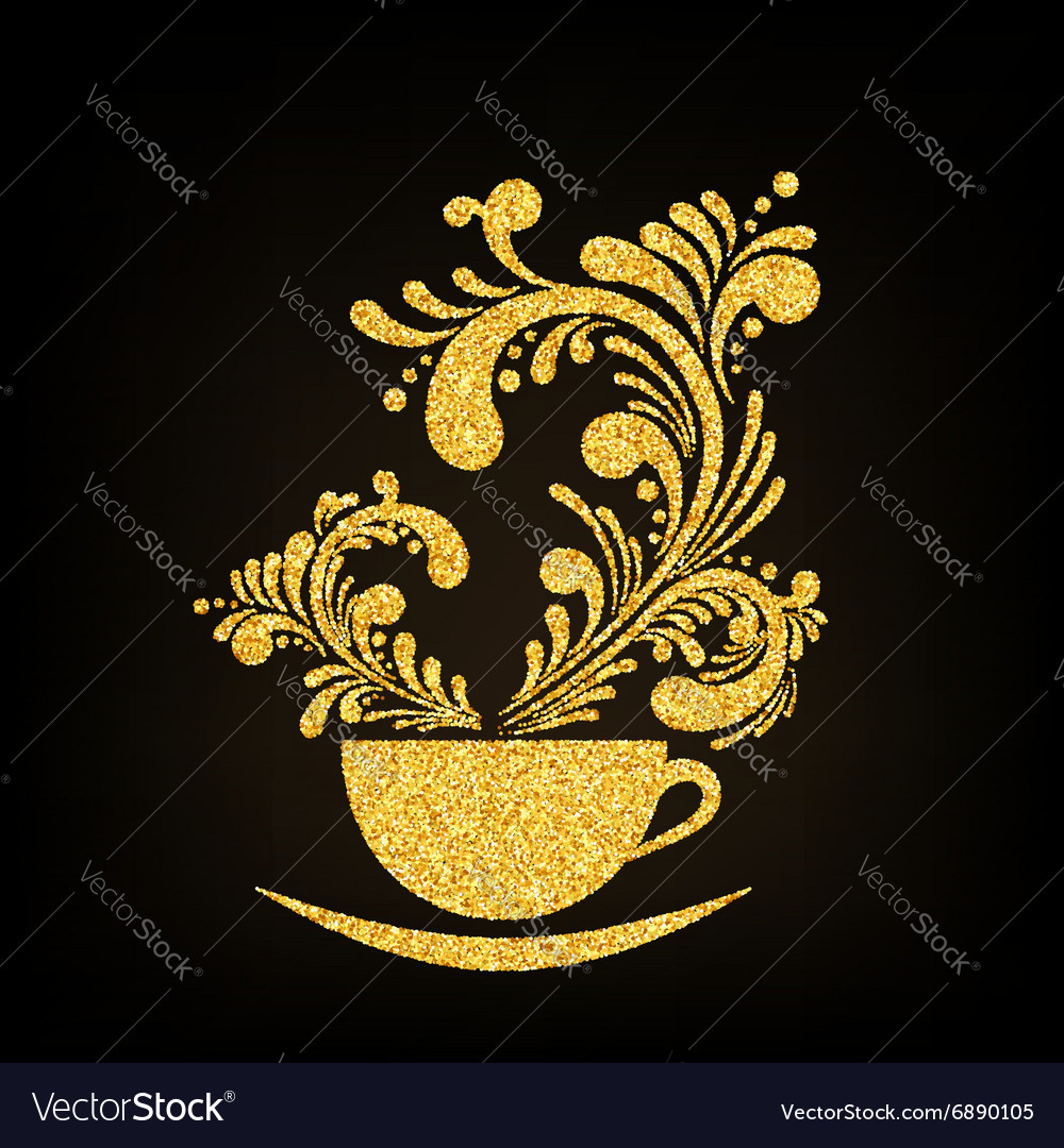 Gold glitter cup of coffee with floral vector