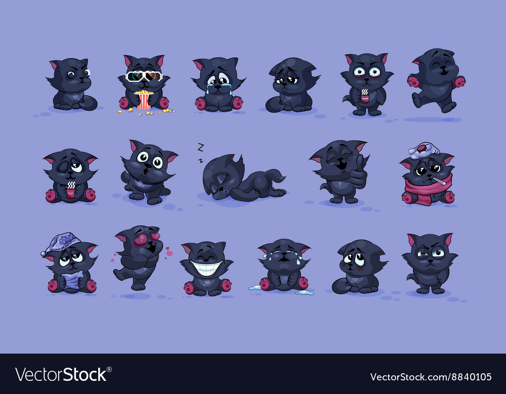 Isolated emoji character cartoon black cat vector