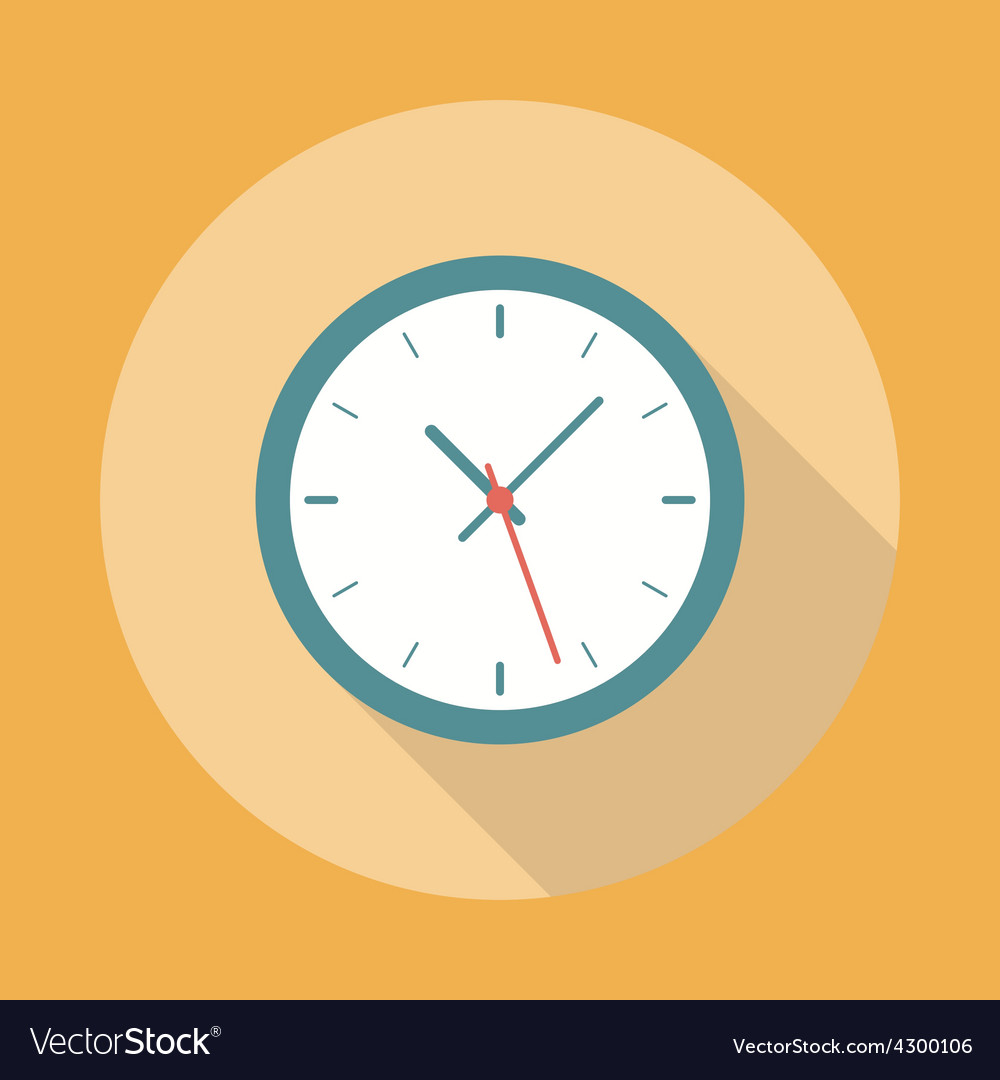 Clock icon flat vector