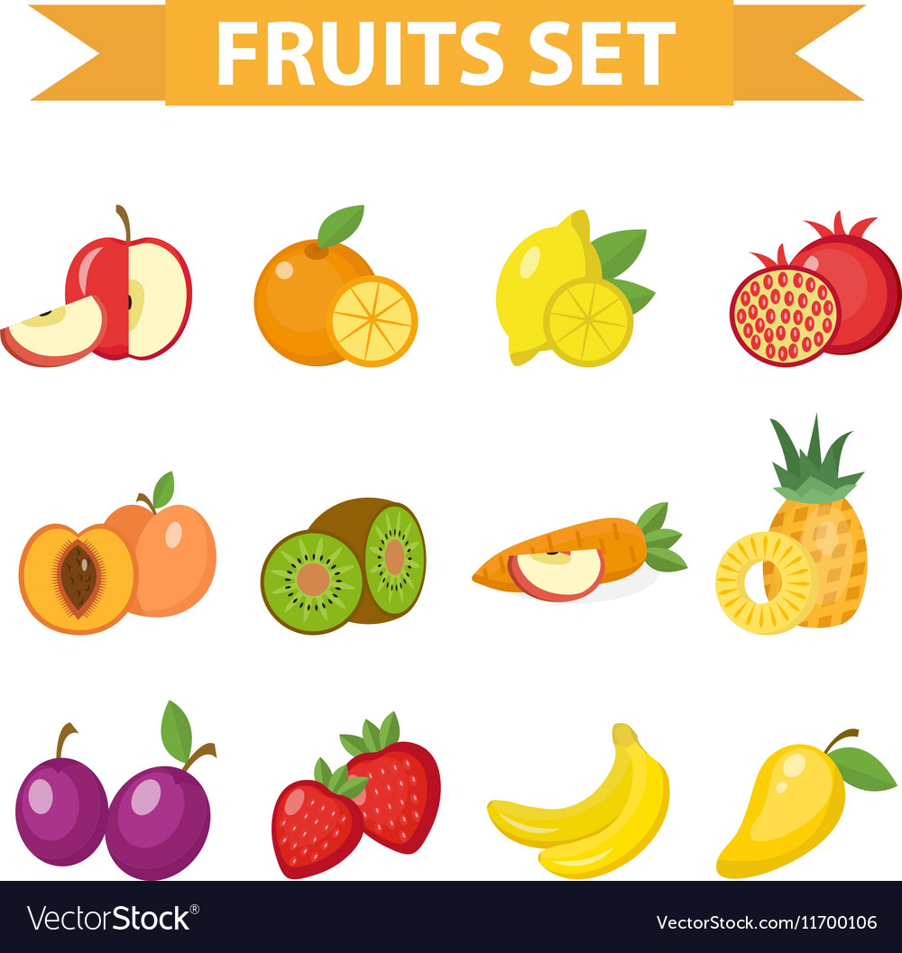 Fruit set fruits icon flat vector