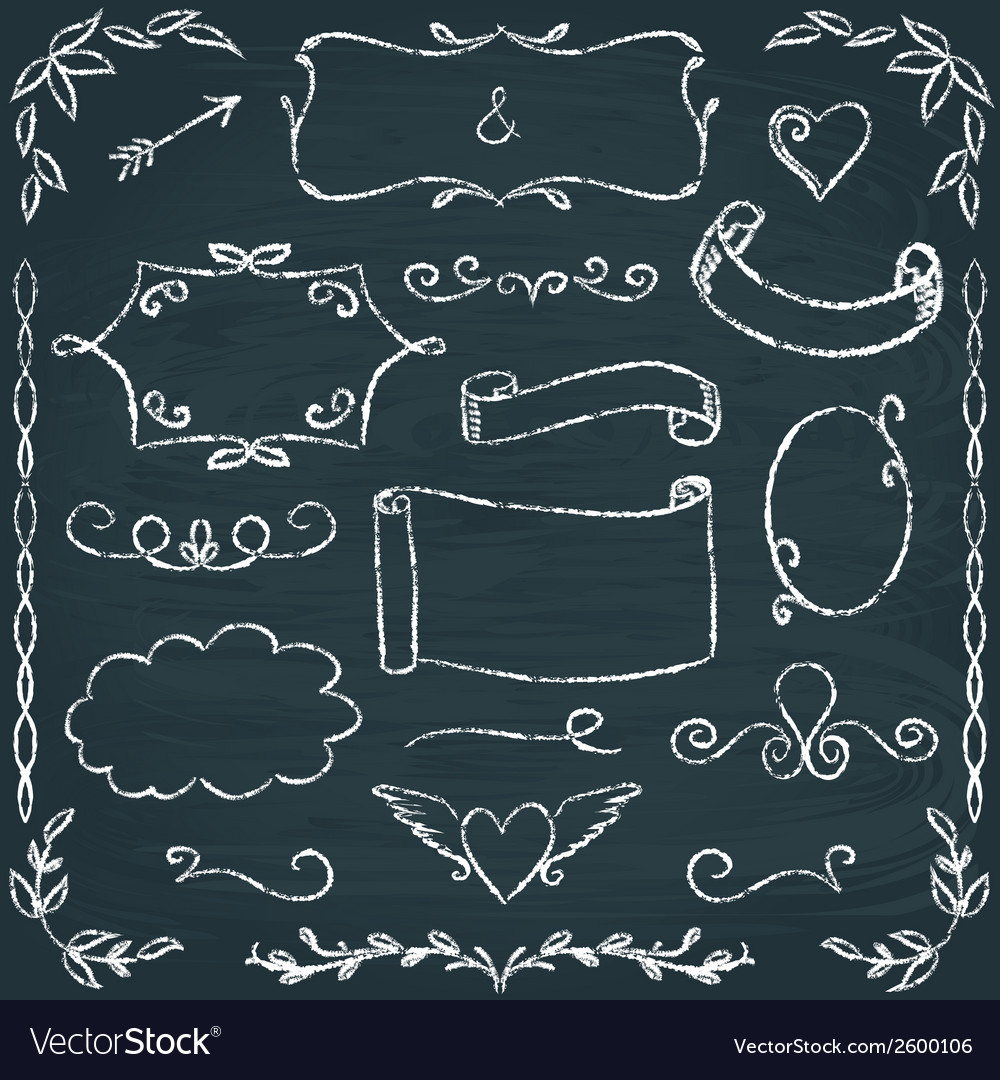 Handdrawn chalkboard frames and elements set vector