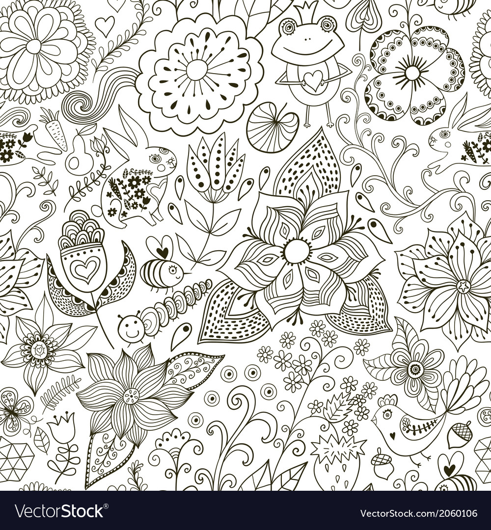 Romantic doodle floral texture copy that square to vector