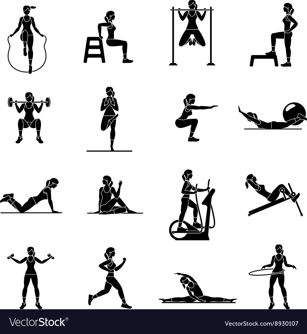 Aerobic icons 4x4 black vector