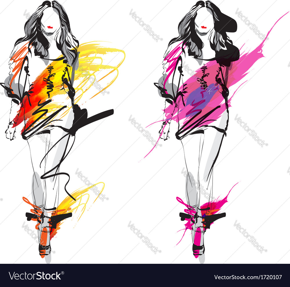 Artistic fashion sketch vector