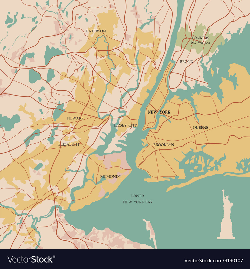Map of the city of new york and statue of liberty vector
