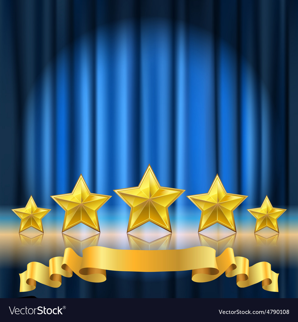 Blue curtain stars vector