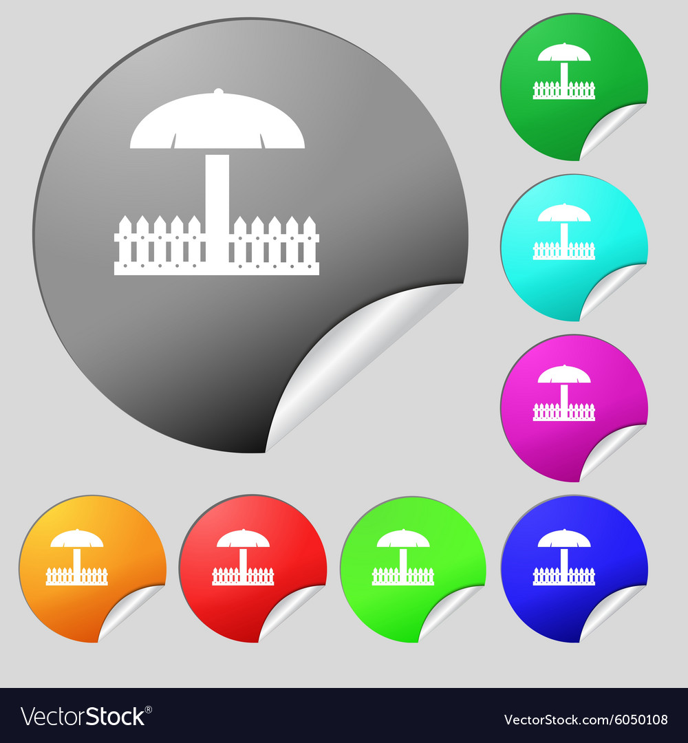 Sandbox icon sign set of eight multi colored round vector