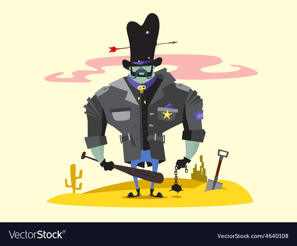 Wild west sheriff cartoon character vector