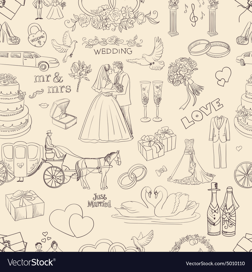 Seamless pattern with wedding icons vector