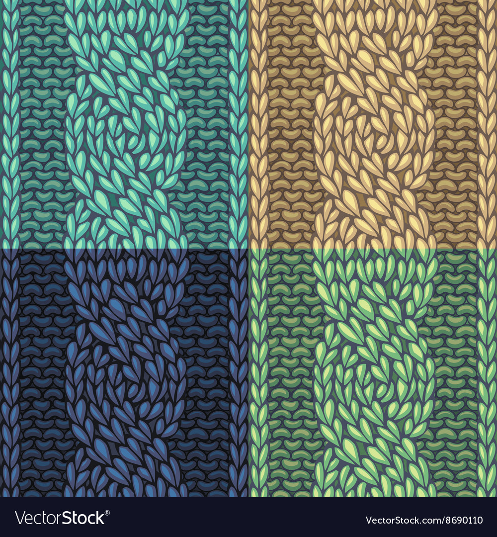 Set of sixstitch cable stitch patterns vector