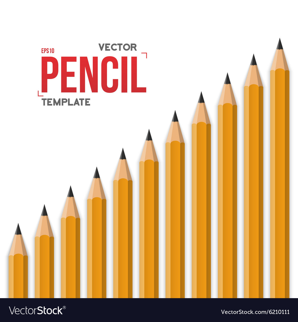 Realistic yellow graphite office pencil vector
