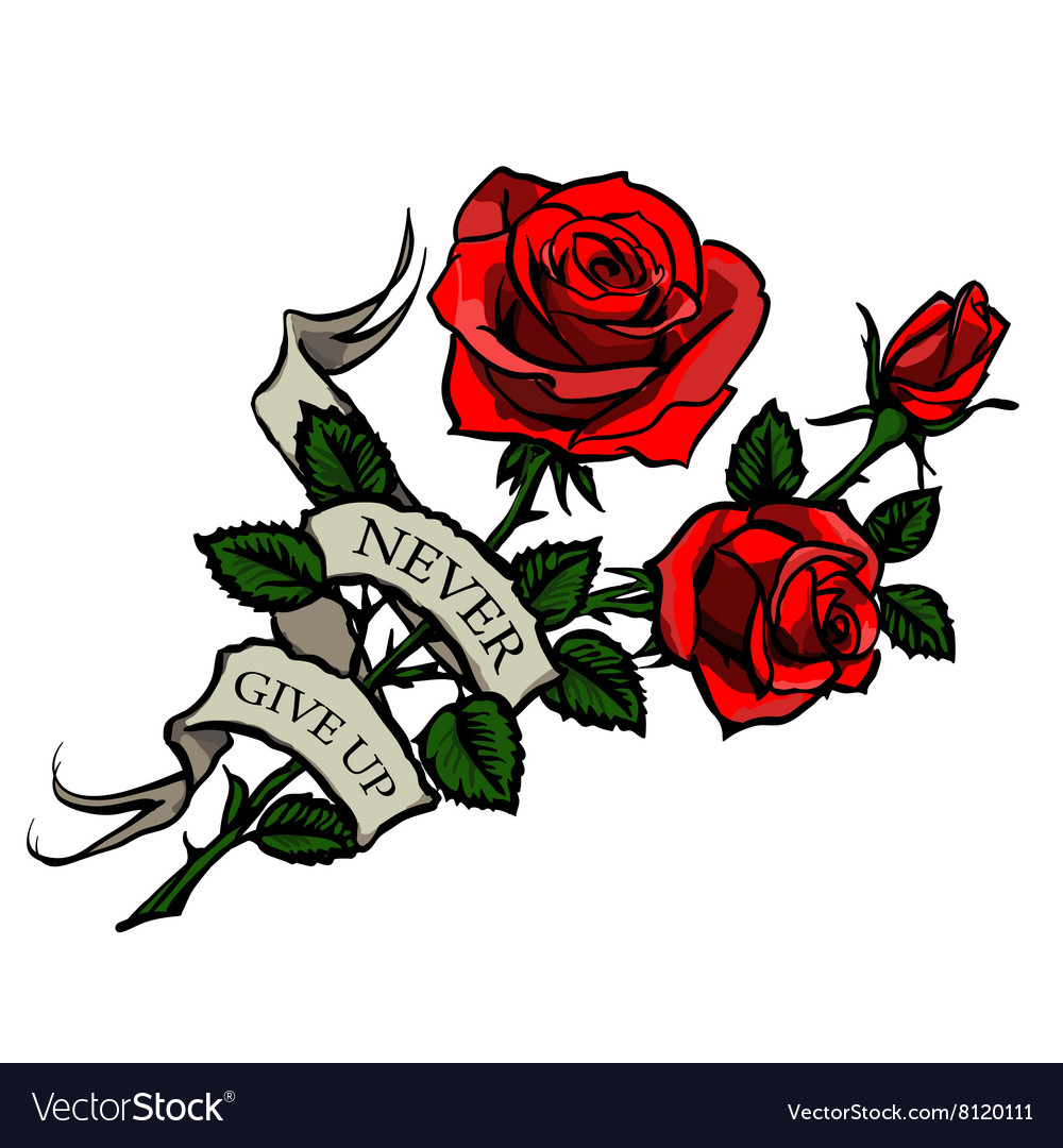 Tattoo red roses vector