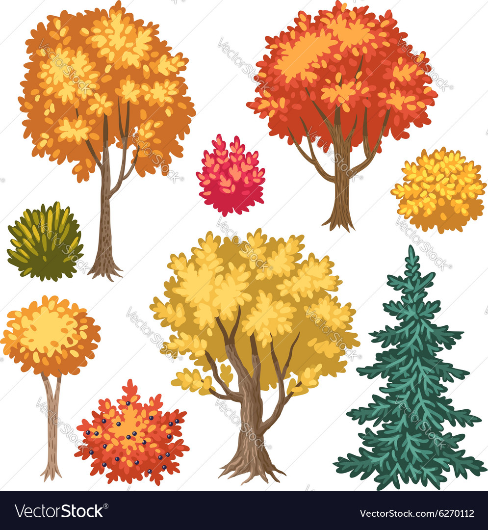 Trees autumn vector