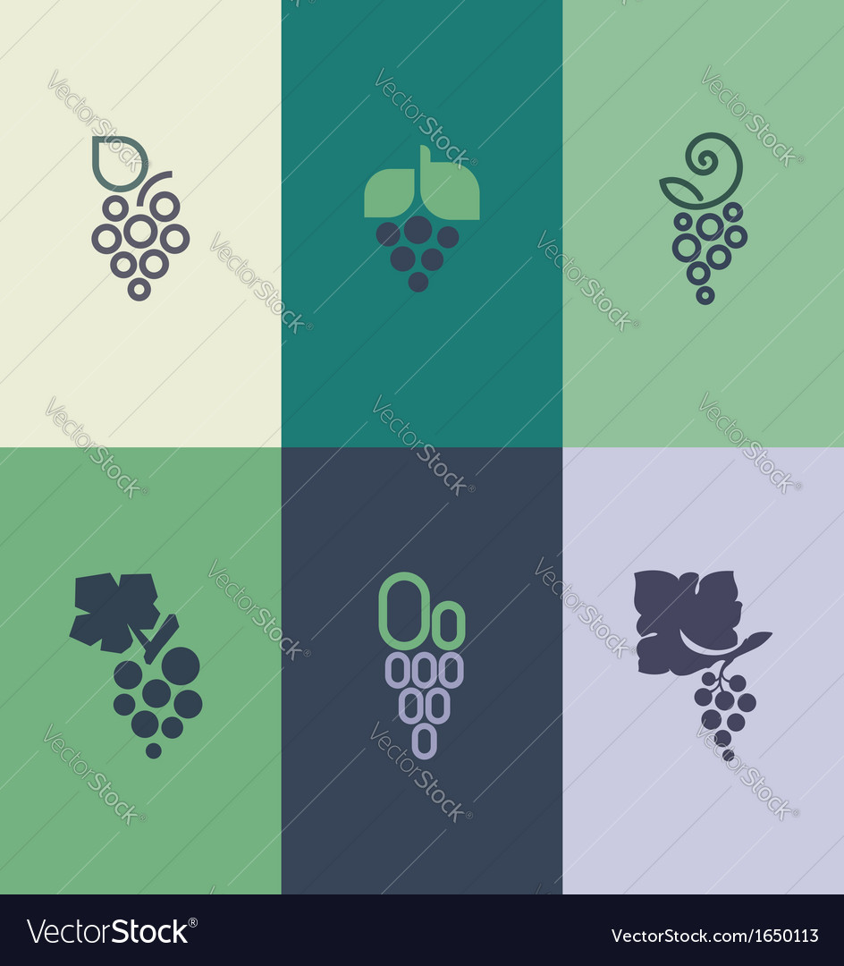 Grape with leaf logo templates set vector