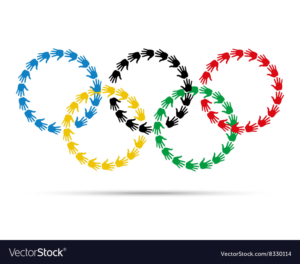Circles olympic emblem made with hand prints vector