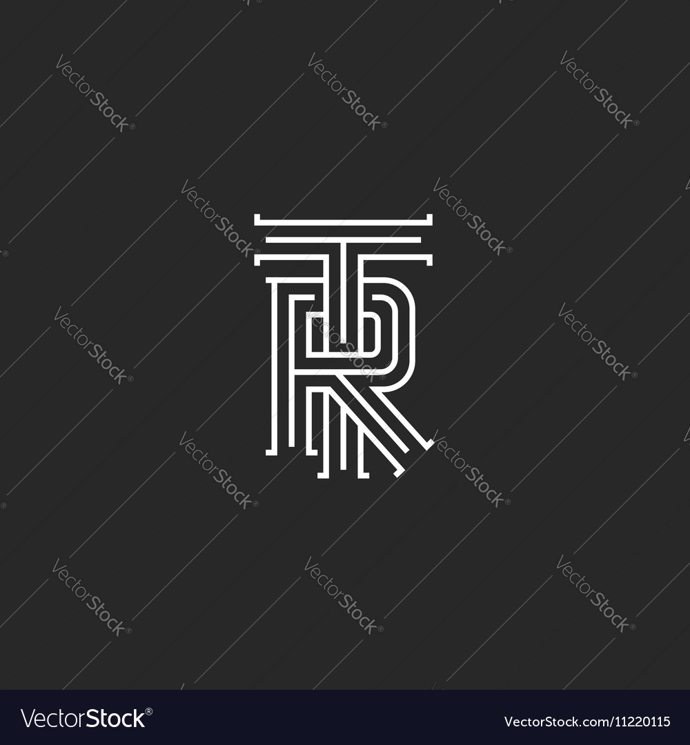 Retro tr logo monogram overlapping thin line vector