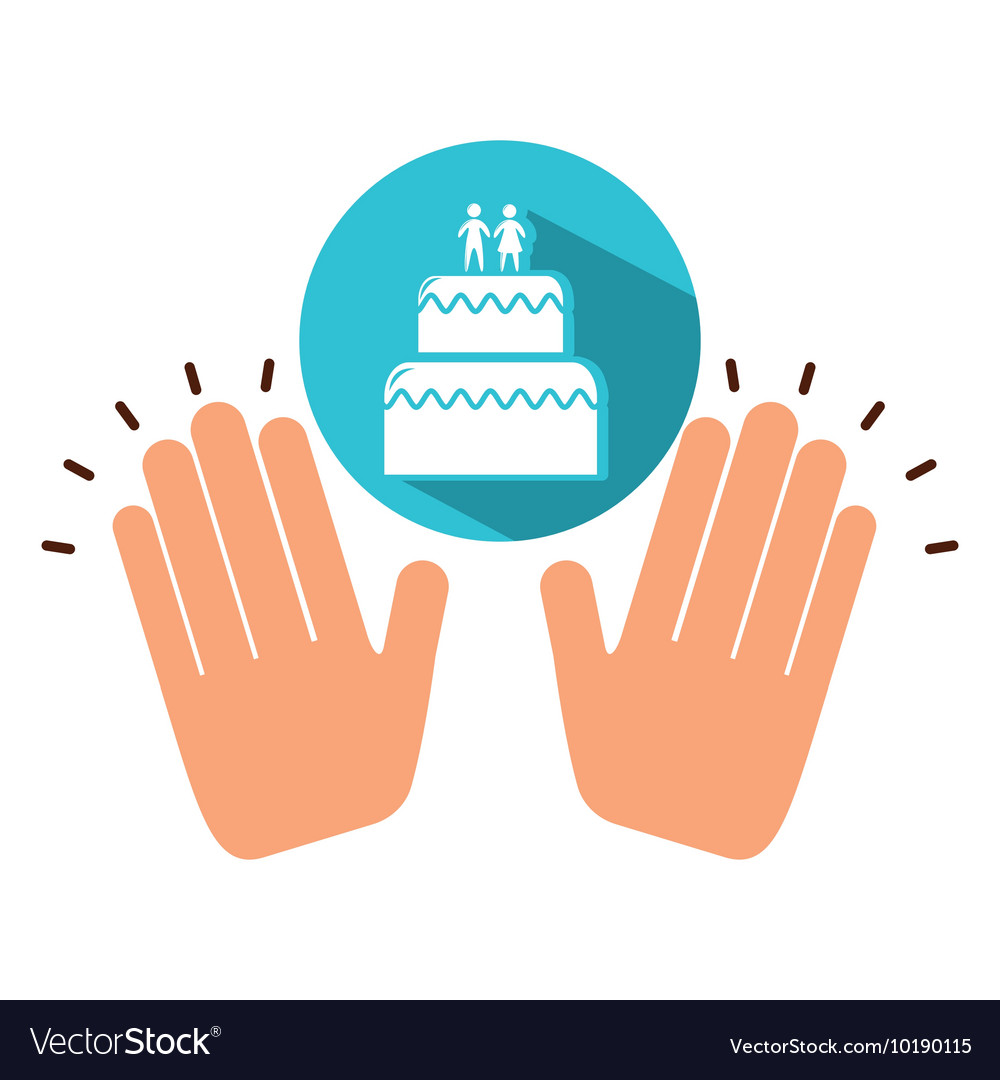 Two hands holding wedding cake vector