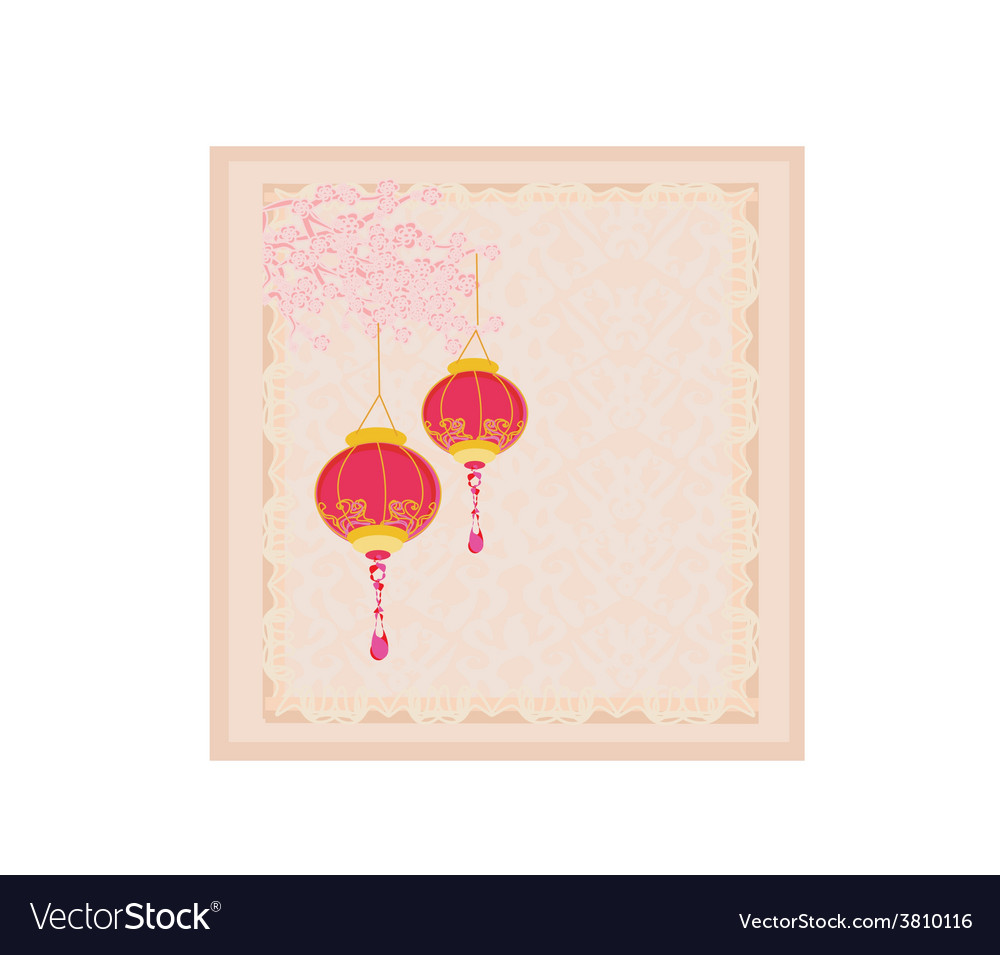 Chinese new year with lanterns card vector