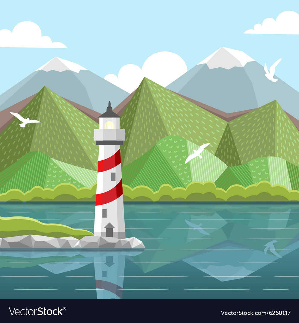 Sea landscape with lighthouse vector