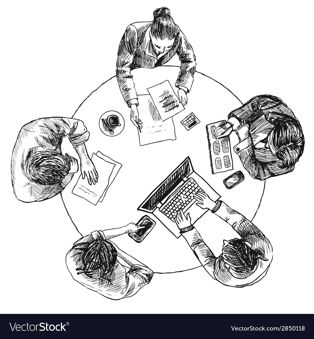 Business meeting top view vector