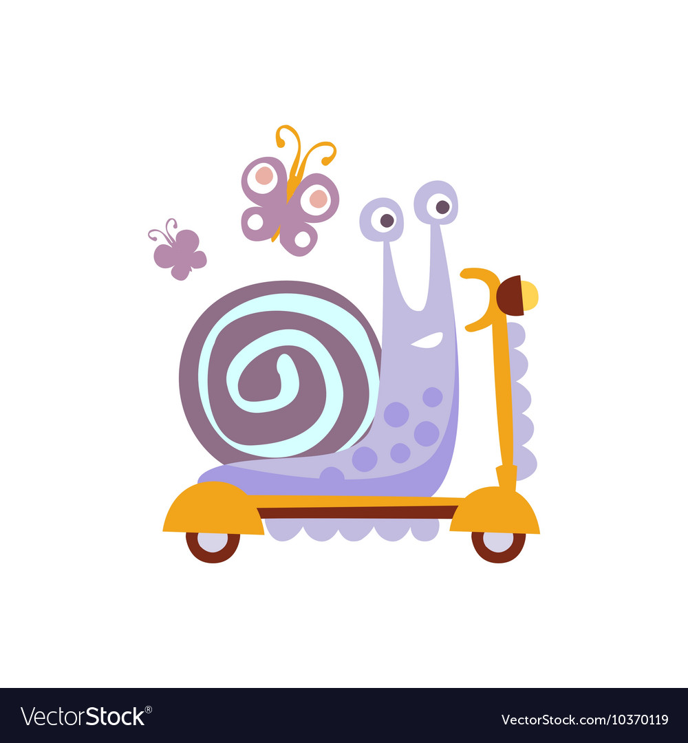 Snail riding a scooter stylized fantastic vector