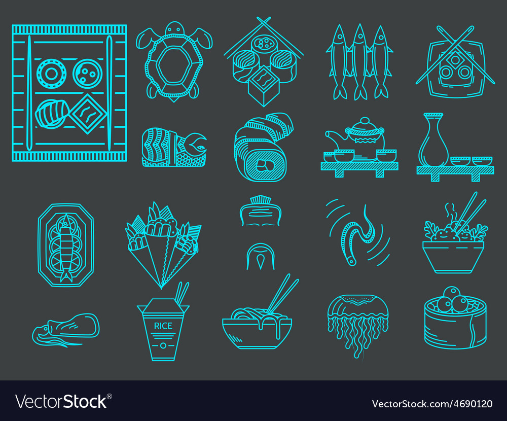 Blue line icons for japanese menu vector