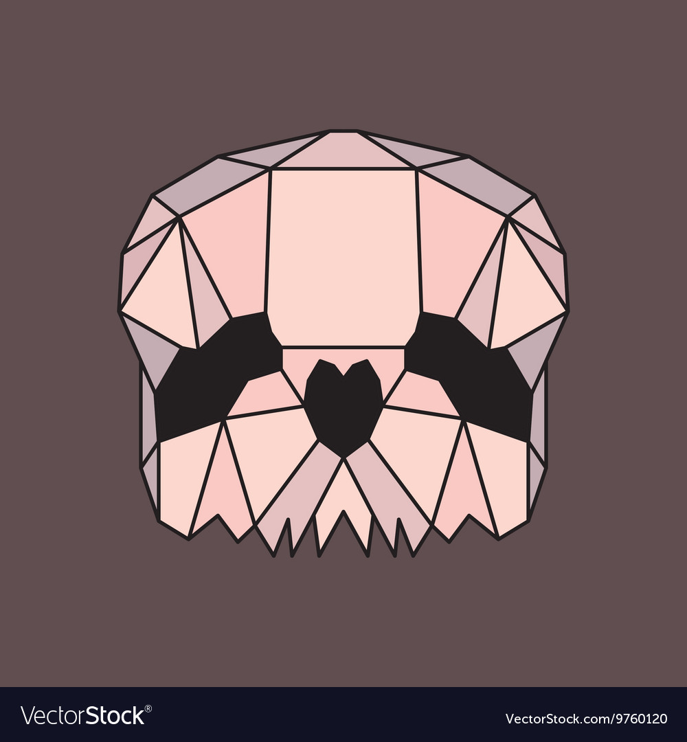 Pink and beige low poly skull vector