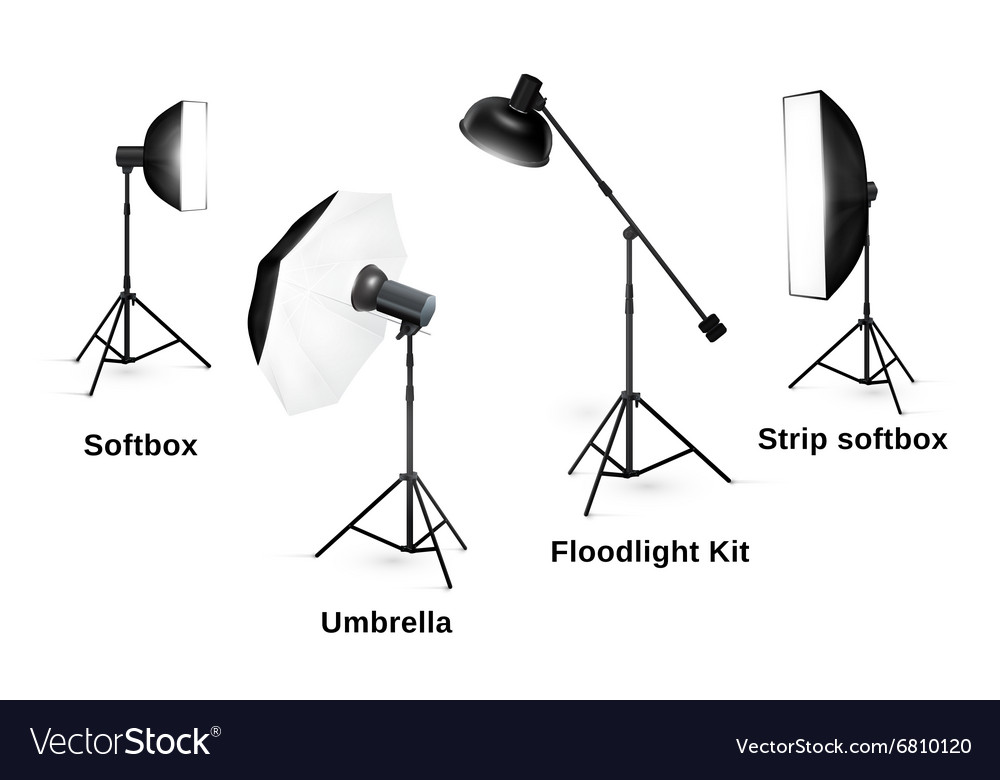 Studio lighting equipment isolated on white vector