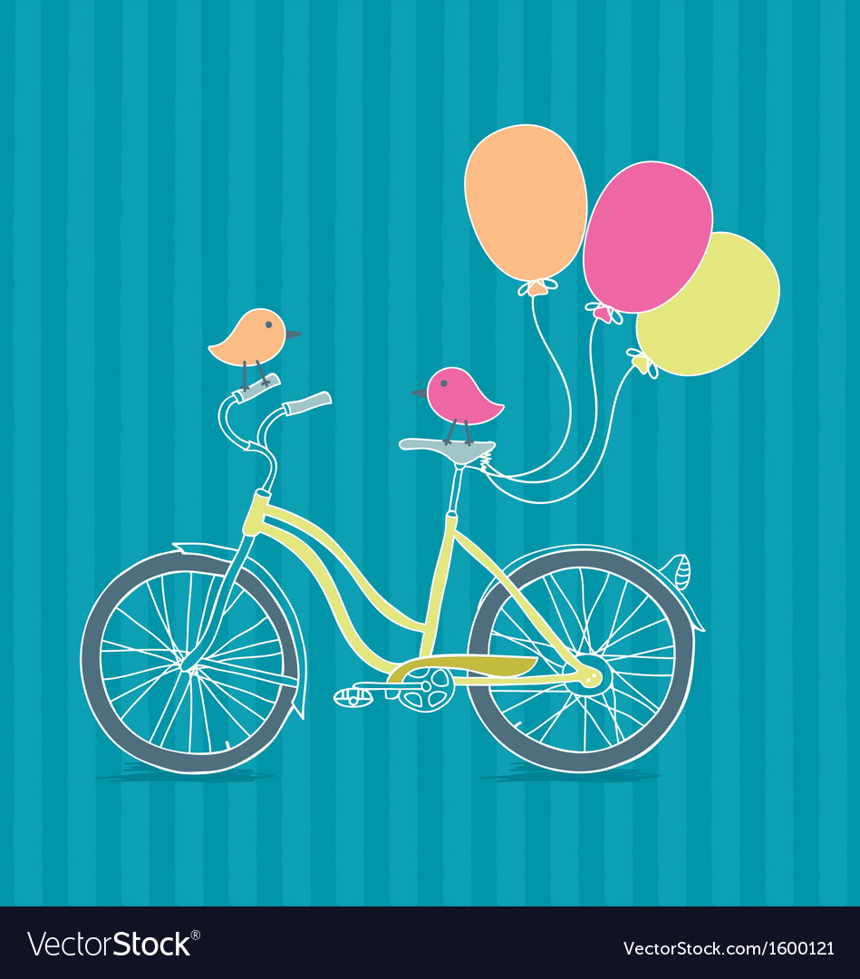 Bicycle balloons and birds vector