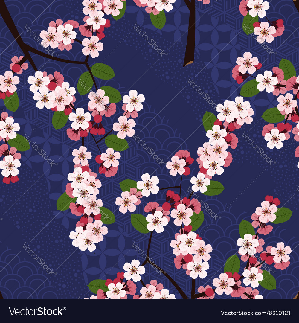 Seamless floral pattern with cherry sakura flowers vector