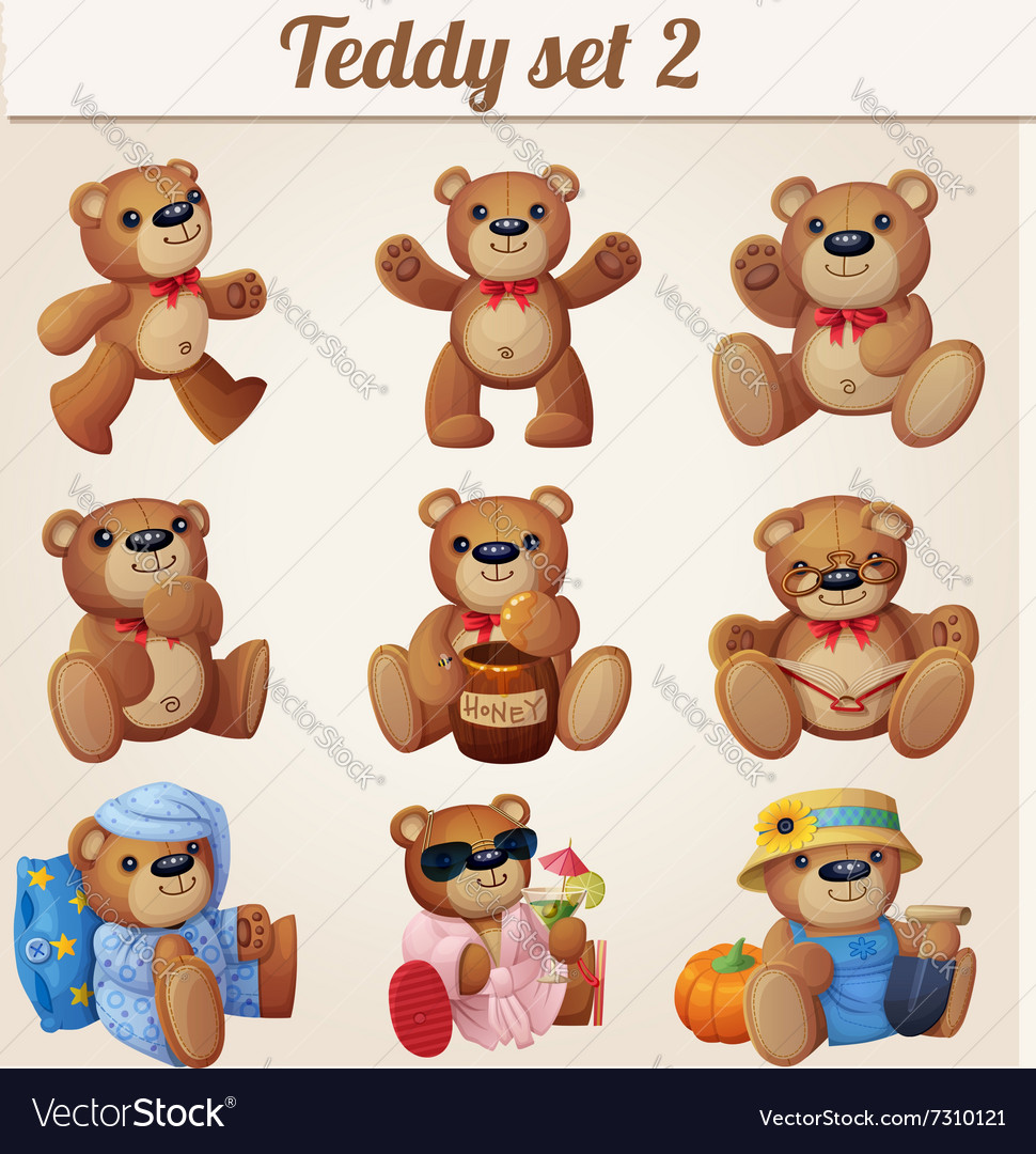 Teddy bears set part 2 vector