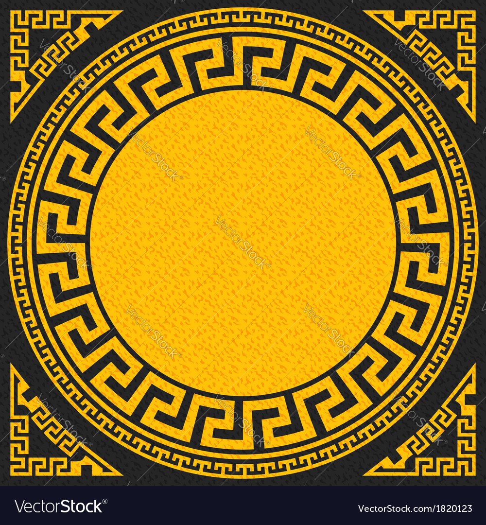 Golden square and round greek ornament meande vector