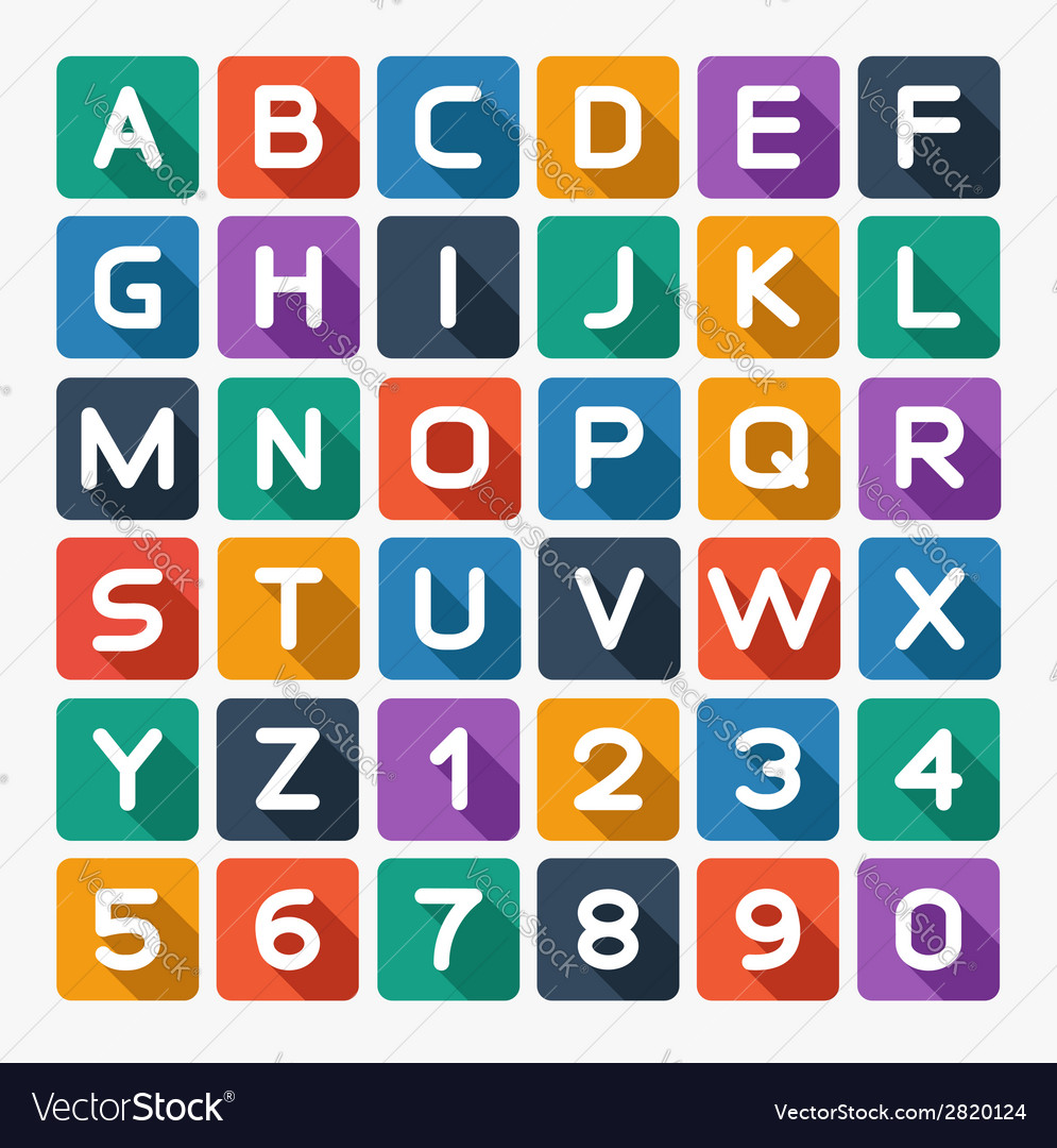 Flat alphabet rounded isolated on white vector