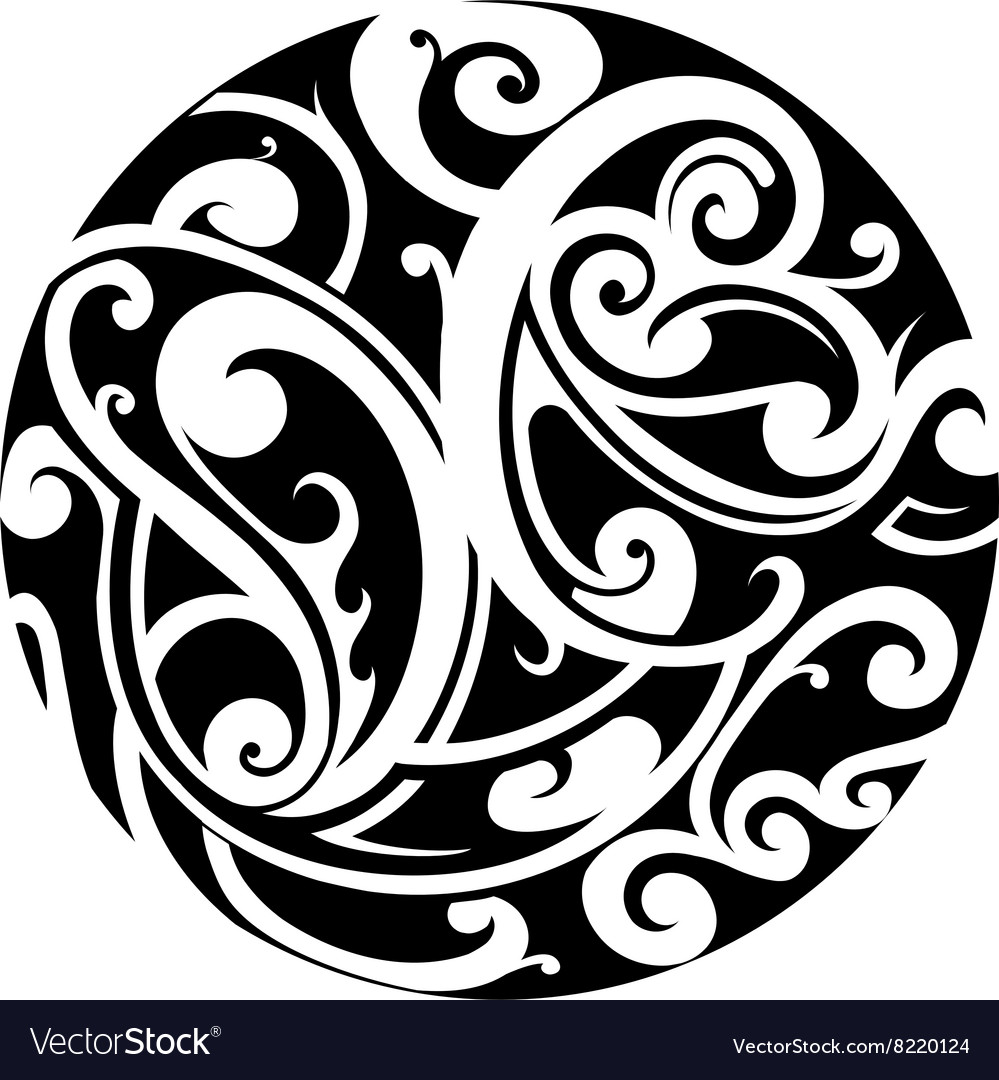 Maori circle tattoo vector