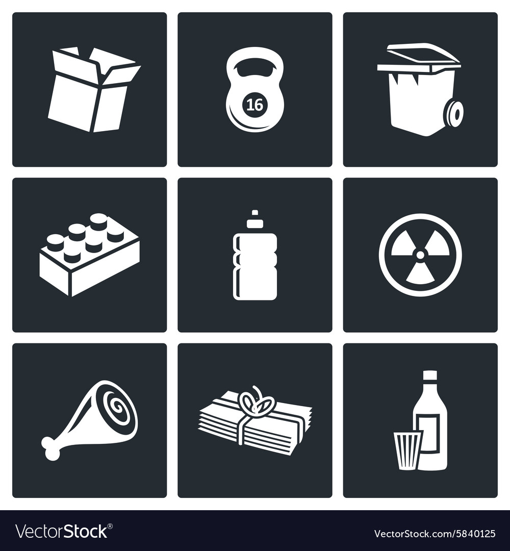 Waste and recycling icons vector