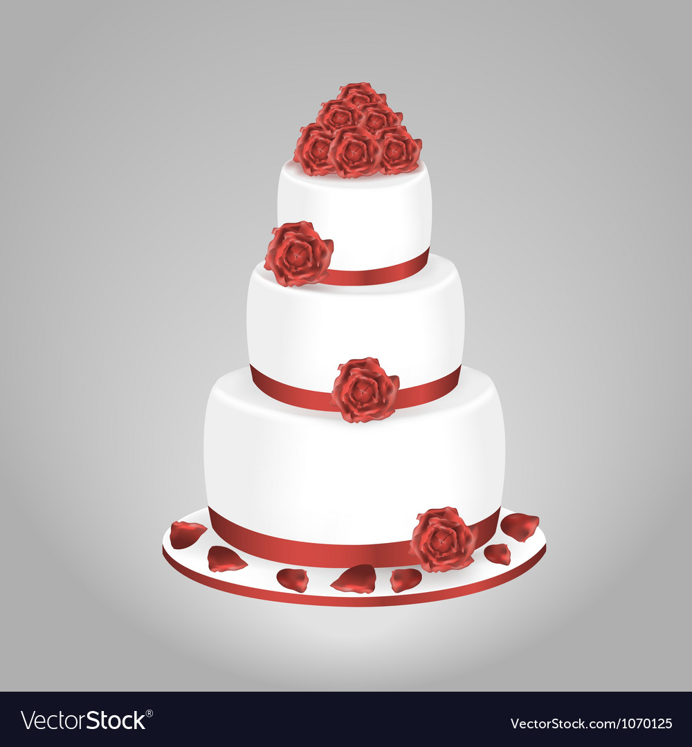 Wedding cake with red roses vector