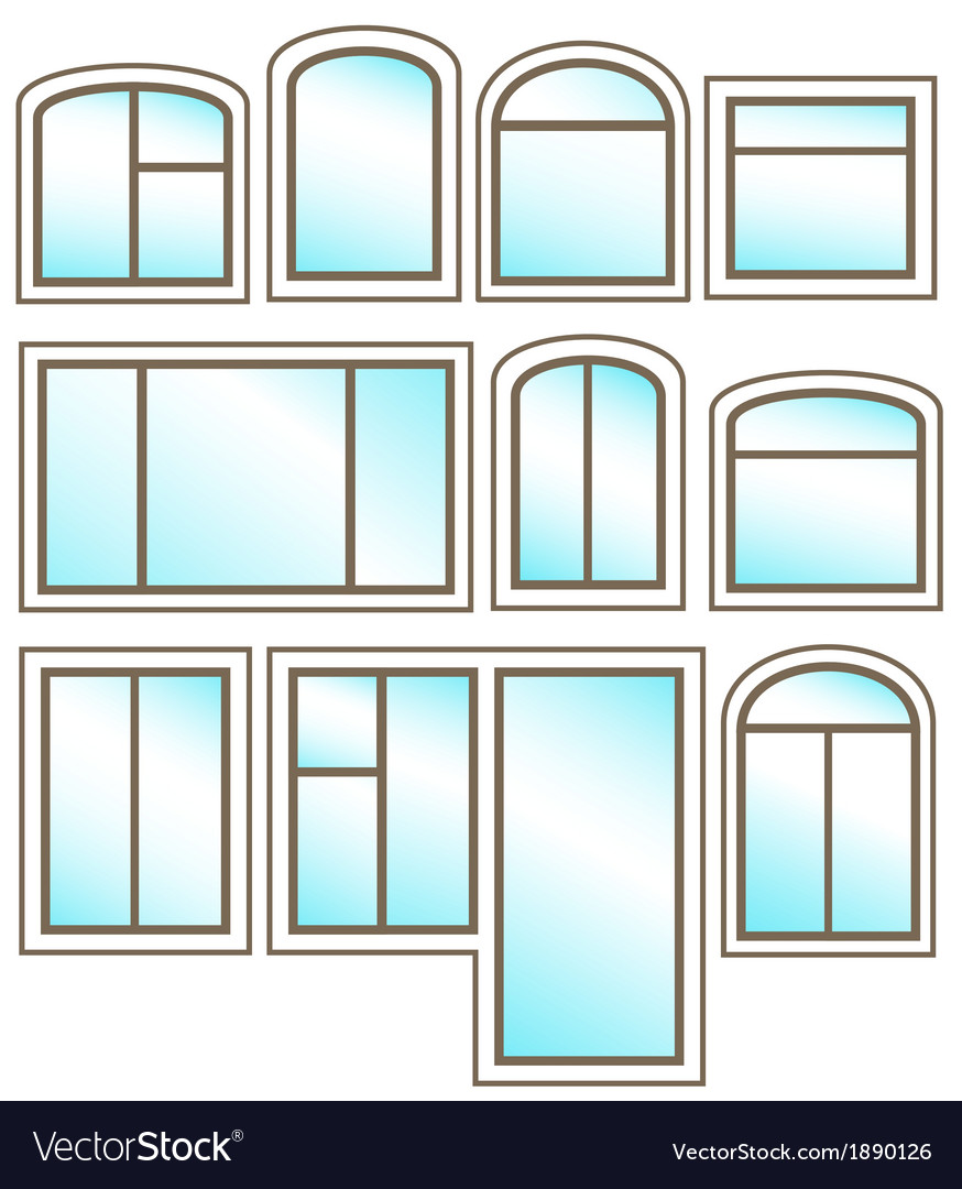 Set windows icon with glossy glass vector